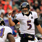 Baltimore Ravens quarterback Joe Flacco directs his team at the line in the first quarter of an NFL football game against the Cleveland Browns Sunday, Nov. 4, 2012, in Cleveland. (AP Photo/T …