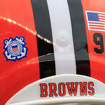 Cleveland Browns defensive tackle John Hughes's helmet shows the Salute to Service and Coast Guard decals during an NFL football game against the Baltimore Ravens Sunday, Nov. 4, 2012, in Cl …
