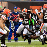 Cleveland Browns wide receiver Josh Cribbs (16) returns a kick in the third quarter in an NFL football game against the Baltimore Ravens Sunday, Nov. 4, 2012, in Cleveland. (AP Photo/Tony De …