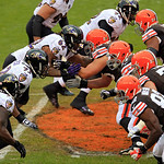 The Baltimore Ravens, left, and Cleveland Browns face off in the second quarter of an NFL football game Sunday, Nov. 4, 2012, in Cleveland. (AP Photo/Tony Dejak)