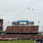 Two F-16 jets from the Ohio Air National Guard 180th Fighter Wing perform a flyover at Cleveland Browns Stadium before an NFL football game between the Cleveland Browns and the Baltimore Rav …