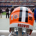 The helmet of Cleveland Browns defensive end Juqua Parker displays stickers for the U.S. Marine Corp. and the league's Salute to Service before an NFL football game against the Baltimore Rav …