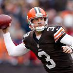 Cleveland Browns quarterback Brandon Weeden passes against the Baltimore Ravens in the first quarter of an NFL game in Cleveland, Sunday, Nov. 4, 2012. (AP Photo/Rick Osentoski)