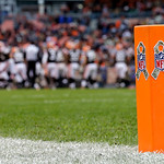 Special decals for the league's Salute to Service adorn the end zone pylons during an NFL football game between the Cleveland Browns and the Baltimore Ravens Sunday, Nov. 4, 2012, in Clevela …