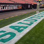 "The Cleveland Browns mark the NFL's ""Salute to Service"" with a special end zone decal and goal post wrap before a football game against the Baltimore Ravens Sunday, Nov. 4, 2012, in Clevelan …"