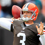 Cleveland Browns quarterback Brandon Weeden warms up before an NFL football game against the Baltimore Ravens Sunday, Nov. 4, 2012, in Cleveland. (AP Photo/Tony Dejak)