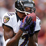 Baltimore Ravens' Jacoby Jones fields a kick in the second quarter of an NFL football game against the Cleveland Browns in Cleveland, Sunday, Nov. 4, 2012. (AP Photo/Rick Osentoski)