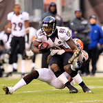 Baltimore Ravens wide receiver Anquan Boldin (81) is tackled by Cleveland Browns defensive back Usama Young (28) during an NFL football game Sunday, Nov. 4, 2012, in Cleveland. (AP Photo/Ton …