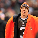 Cleveland Browns quarterback Brandon Weeden watches from the sidelines in the fourth quarter of an NFL football game against the Baltimore Ravens Sunday, Nov. 4, 2012, in Cleveland. (AP Phot …