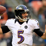Baltimore Ravens quarterback Joe Flacco passes against the Cleveland Browns in the first quarter of an NFL football game Sunday, Nov. 4, 2012, in Cleveland. (AP Photo/Tony Dejak)