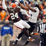 Cleveland Browns cornerback Sheldon Brown (24) breaks up a pass intended for Baltimore Ravens wide receiver Torrey Smith in the third quarter of an NFL football game in Cleveland, Sunday, No …