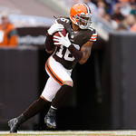 Cleveland Browns wide receiver Josh Cribbs (16) runs the ball on a kickoff return against the Baltimore Ravens in the first half of an NFL football game in Cleveland, Sunday, Nov. 4, 2012. ( …