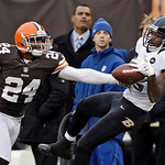 Cleveland Browns cornerback Sheldon Brown (24) knocks a pass away from Baltimore Ravens wide receiver Torrey Smith in the third quarter of an NFL football game Sunday, Nov. 4, 2012, in Cleve …