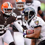 Baltimore Ravens running back Ray Rice (27) runs eight yards for a touchdown against the Cleveland Browns in the first quarter of an NFL football game in Cleveland, Sunday, Nov. 4, 2012. (AP …