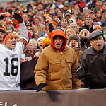 Cleveland Browns fans react during an NFL football game against the Baltimore Ravens Sunday, Nov. 4, 2012, in Cleveland. (AP Photo/Tony Dejak)