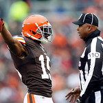 Cleveland Browns wide receiver Greg Little celebrates a catch in the second quarter of an NFL football game against the Cleveland Browns in Cleveland, Sunday, Nov. 4, 2012. (AP Photo/Rick Os …