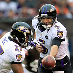 Baltimore Ravens quarterback Joe Flacco (5) hands off to running back Ray Rice in the first quarter of an NFL football game against the Cleveland Browns Sunday, Nov. 4, 2012, in Cleveland. ( …