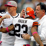 Cleveland Browns head coach Pat Shurmur, right, hugs cornerback Joe Haden (23) as quarterback Brandon Weeden, left, watches in the fourth quarter of an NFL football game, Sunday, Oct. 14, 20 …