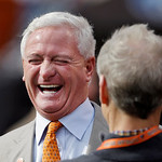 Cleveland Browns owner-in-waiting Jimmy Haslam laughs on the sidelines before an NFL football game against the Cincinnati Bengals Sunday, Oct. 14, 2012, in Cleveland. Haslam, who purchased m …
