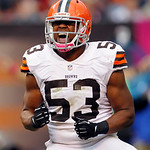 Cleveland Browns linebacker Craig Robertson celebrates a defensive play against the Cincinnati Bengals in the fourth quarter of an NFL football game Sunday, Oct. 14, 2012, in Cleveland. (AP  …