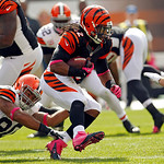 Cincinnati Bengals running back BenJarvus Green-Ellis breaks away from Cleveland Browns defensive tackle Billy Winn (90) in the first quarter of an NFL football game Sunday, Oct. 14, 2012, i …