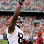 Cleveland Browns tight end Benjamin Watson celebrates after scoring a touchdown against the Cincinnati Bengals during an NFL football game Sunday, Oct. 14, 2012, in Cleveland. (AP Photo/Tony …