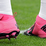 Cleveland Browns quarterback Brandon Weeden wears pink shoes to commemorate Breast Cancer Awareness before an NFL football game against the Cincinnati Bengals Sunday, Oct. 14, 2012, in Cleve …