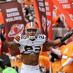 Cleveland Browns cornerback Buster Skrine runs onto the field before an NFL football game against the Cincinnati Bengals Sunday, Oct. 14, 2012, in Cleveland. (AP Photo/Scott R. Galvin)