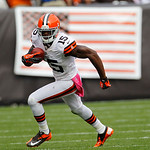 Cleveland Browns wide receiver Greg Little  runs the ball against the Cincinnati Bengals during an NFL football game Sunday, Oct. 14, 2012, in Cleveland. (AP Photo/Tony Dejak)