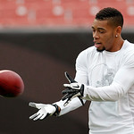 Cleveland Browns defensive back Joe Haden warms up before the Browns play the Cincinnati Bengals in an NFL football game Sunday, Oct. 14, 2012, in Cleveland. (AP Photo/Tony Dejak)