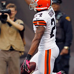Cleveland Browns corner back Sheldon Brown celebrates his interception return for a touchdown in the fourth quarter of an NFL football game against the Cincinnati Bengals Sunday, Oct. 14, 20 …