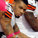 Cleveland Browns defensive back Joe Haden (23) sits on the bench during an NFL football game against the Cincinnati Bengals Sunday, Oct. 14, 2012, in Cleveland. (AP Photo/Tony Dejak)