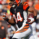 Cincinnati Bengals tight end Jermaine Gresham races to the end zone on a 55-yard catch for a touchdown in the first quarter of an NFL football game against the Cleveland Browns Sunday, Oct.  …