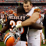 Cleveland Browns offensive tackle Joe Thomas hugs Cincinnati Bengals cornerback Shaun Prater (38) after the Browns' 34-24 win in an NFL football game Sunday, Oct. 14, 2012, in Cleveland. (AP …