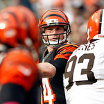 Cincinnati Bengals quarterback Andy Dalton looks to pass in the third quarter of an NFL football game against the Cleveland Browns Sunday, Oct. 14, 2012, in Cleveland. (AP Photo/Scott R. Gal …