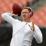 Cleveland Browns quarterback Brandon Weeden warms up before an NFL football game against the Cincinnati Bengals Sunday, Oct. 14, 2012, in Cleveland. (AP Photo/Tony Dejak)