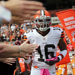 Cleveland Browns' Josh Cribbs slaps hands with cancer survivors as he takes the field for an NFL football game against the Cincinnati Bengals Sunday, Oct. 14, 2012, in Cleveland. (AP Photo/S …
