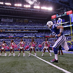 Indianapolis Colts' Andrew Luck is introduced before an NFL football game against the Cleveland Browns Sunday, Oct. 21, 2012, in Indianapolis. (AP Photo/AJ Mast)