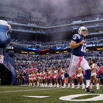 Indianapolis Colts' Andrew Luck is introduced before an NFL football game against the Cleveland Browns Sunday, Oct. 21, 2012, in Indianapolis. (AP Photo/Michael Conroy)