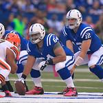 Indianapolis Colts' Andrew Luck (12) takes the snap from Samson Satele during the first half of an NFL football game against the Cleveland Browns Sunday, Oct. 21, 2012, in Indianapolis. (AP  …