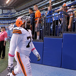 Cleveland Browns' Ahtyba Rubin leaves the field after the Colts defeated the Browns, 17-13, in an NFL football game Sunday, Oct. 21, 2012, in Indianapolis. (AP Photo/Michael Conroy)