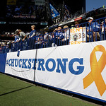 "A ""Chuckstrong"" banner is displayed during the second half of an NFL football game Sunday, Oct. 21, 2012, in Indianapolis. The banner is for Indianapolis Colts head coach Chuck Pagano who ha …"