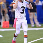 Cleveland Browns' Brandon Weeden puts on his helmet during the first half of an NFL football game against the Indianapolis Colts Sunday, Oct. 21, 2012, in Indianapolis. (AP Photo/AJ Mast)
