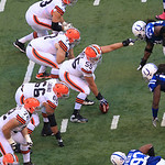 Cleveland Browns' Alex Mack (55) gives directions during the second half of an NFL football game against the Indianapolis Colts Sunday, Oct. 21, 2012, in Indianapolis. (AP Photo/AJ Mast)