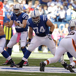 Indianapolis Colts' Anthony Castonzo (74) blocks during the first half of an NFL football game against the Cleveland Browns Sunday, Oct. 21, 2012, in Indianapolis. (AP Photo/Michael Conroy)