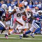 Cleveland Browns' Benjamin Watson (82) runs during the second half of an NFL football game against the Indianapolis Colts Sunday, Oct. 21, 2012, in Indianapolis. (AP Photo/Michael Conroy)
