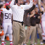 Cleveland Browns head coach Pat Shurmur reacts during the first half of an NFL football game against the Indianapolis Colts Sunday, Oct. 21, 2012, in Indianapolis. (AP Photo/Michael Conroy)