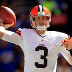 Cleveland Browns' Brandon Weeden throws during the first half of an NFL football game against the Indianapolis Colts, Sunday, Oct. 21, 2012, in Indianapolis. (AP Photo/AJ Mast)