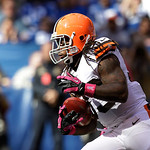 Cleveland Browns' Joe Haden runs during the first half of an NFL football game against the Indianapolis Colts Sunday, Oct. 21, 2012, in Indianapolis. (AP Photo/Michael Conroy)
