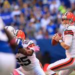 Cleveland Browns' Brandon Weeden throws during the first half of an NFL football game against the Indianapolis Colts Sunday, Oct. 21, 2012, in Indianapolis. (AP Photo/AJ Mast)